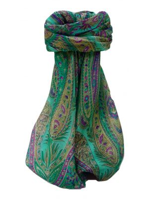 Mulberry Silk Traditional Square Scarf Zayd Emerald by Pashmina & Silk