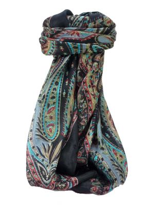 Mulberry Silk Traditional Square Scarf Zayd Black by Pashmina & Silk