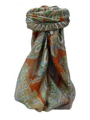 Mulberry Silk Traditional Square Scarf Vahi Copper by Pashmina & Silk