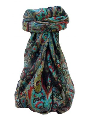 Mulberry Silk Traditional Square Scarf Yana Black by Pashmina & Silk