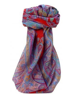 Mulberry Silk Traditional Square Scarf Yana Scarlet by Pashmina & Silk