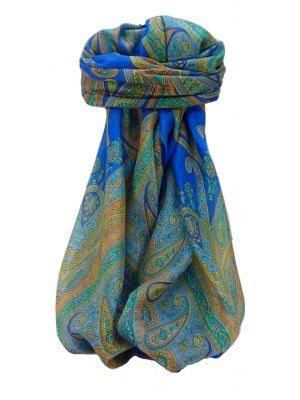 Mulberry Silk Traditional Square Scarf Yana Blue by Pashmina & Silk