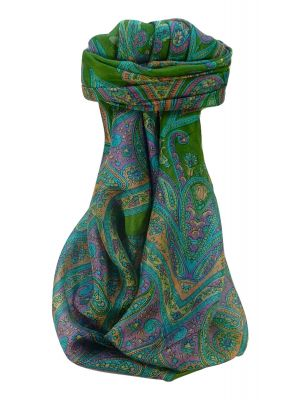 Mulberry Silk Traditional Square Scarf Yana Sage by Pashmina & Silk