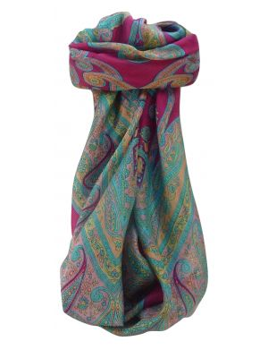 Mulberry Silk Traditional Square Scarf Yana Cerise by Pashmina & Silk