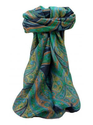 Mulberry Silk Traditional Square Scarf Yana Navy by Pashmina & Silk