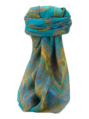 Mulberry Silk Traditional Square Scarf Yana Aqua by Pashmina & Sil