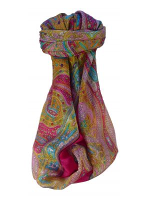 Mulberry Silk Traditional Square Scarf Vayvia Cerise by Pashmina & Silk