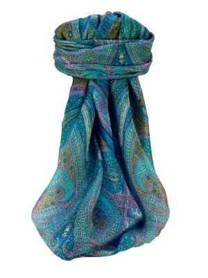 Mulberry Silk Traditional Square Scarf Vayvia Aqua by Pashmina & Silk