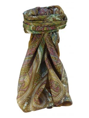 Mulberry Silk Traditional Square Scarf Vayvia Chestnut by Pashmina & Silk