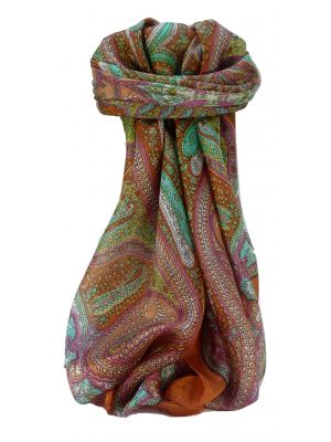 Mulberry Silk Traditional Square Scarf Vayvia Terracotta by Pashmina & Silk
