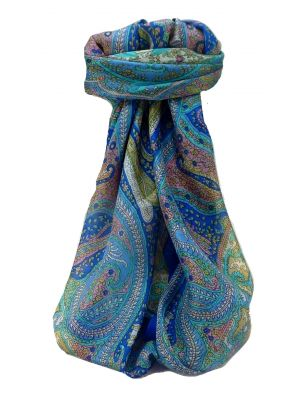 Mulberry Silk Traditional Square Scarf Vayvia Blue by Pashmina & Silk