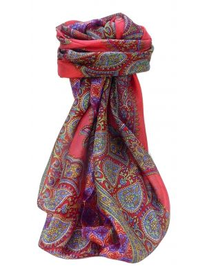 Mulberry Silk Traditional Square Scarf Obi Scarlet by Pashmina & Silk