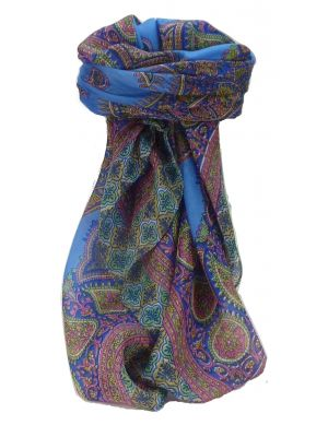 Mulberry Silk Traditional Square Scarf Obi Blue by Pashmina & Silk