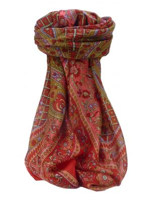 Mulberry Silk Traditional Square Scarf Zamjeet Scarlet by Pashmina & Silk