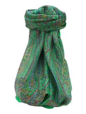 Mulberry Silk Traditional Square Scarf Quiara Emerald by Pashmina & Silk