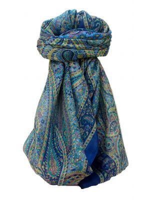 Mulberry Silk Traditional Square Scarf Quiara Blue by Pashmina & Silk