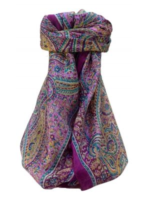 Mulberry Silk Traditional Square Scarf Quiara Violet by Pashmina & Silk