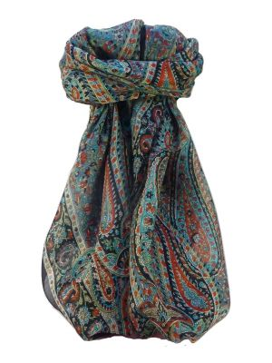 Mulberry Silk Traditional Square Scarf Quiara Black by Pashmina & Silk
