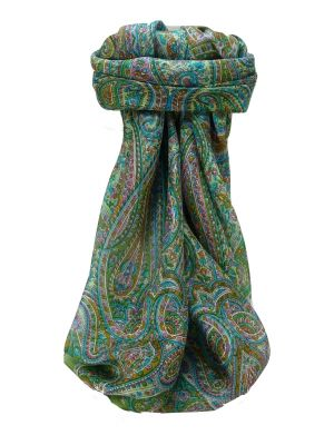 Mulberry Silk Traditional Square Scarf Quiara Sage by Pashmina & Silk