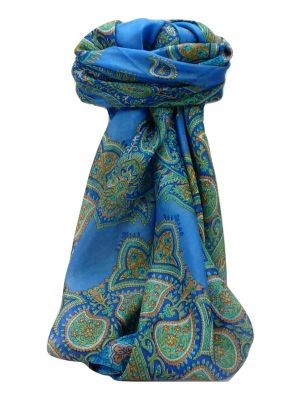 Mulberry Silk Traditional Square Scarf Xita Blue by Pashmina & Silk