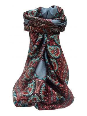 Mulberry Silk Traditional Square Scarf Xita Charcoal by Pashmina & Silk