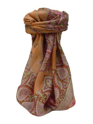 Mulberry Silk Traditional Square Scarf Xita Terracotta by Pashmina & Silk