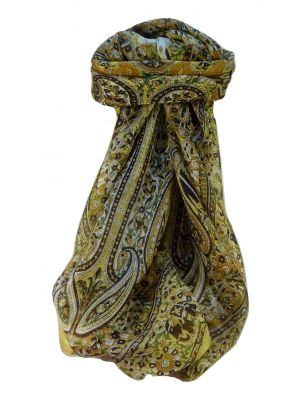 Mulberry Silk Traditional Square Scarf Venaji Gold by Pashmina & Silk