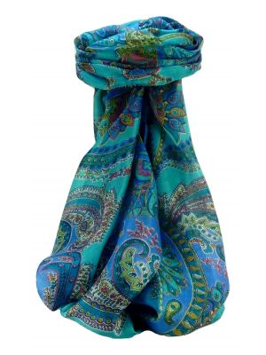 Mulberry Silk Traditional Long Scarf Shipra Aqua by Pashmina & Silk