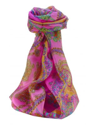 Mulberry Silk Traditional Long Scarf Shipra Pink by Pashmina & Silk