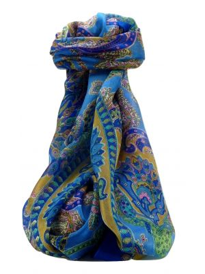 Mulberry Silk Traditional Long Scarf Shipra Blue by Pashmina & Silk