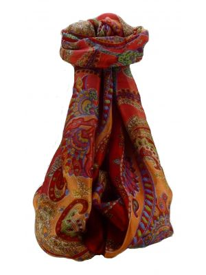 Mulberry Silk Traditional Long Scarf Shipra Scarlet by Pashmina & Silk