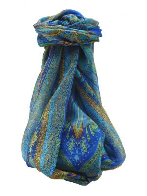 Mulberry Silk Traditional Long Scarf Chadar Blue by Pashmina & Silk