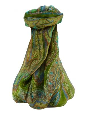 Mulberry Silk Traditional Long Scarf Chadar Sage by Pashmina & Silk