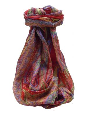 Mulberry Silk Traditional Long Scarf Chadar Scarlet by Pashmina & Silk