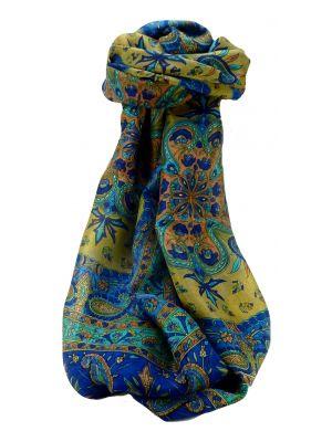 Mulberry Silk Traditional Long Scarf Sarayu Blue by Pashmina & Silk