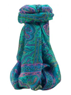 Mulberry Silk Traditional Long Scarf Daman Aqua by Pashmina & Silk