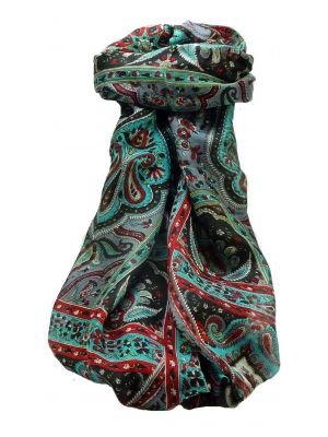 Mulberry Silk Traditional Long Scarf Daman Black by Pashmina & Silk