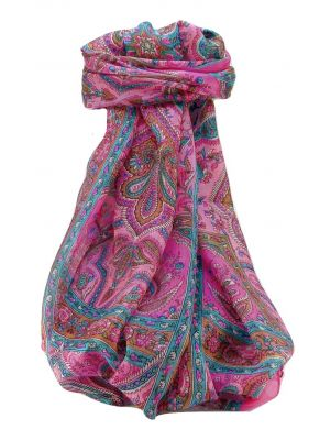 Mulberry Silk Traditional Long Scarf Daman Pink by Pashmina & Silk