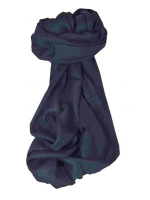 Fine Cashmere Scarf Karakoram Birds-Eye Weave Very Dark Blue by Pashmina & Silk