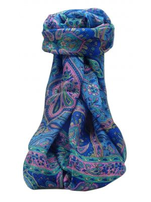 Mulberry Silk Traditional Long Scarf Daman Blue by Pashmina & Silk