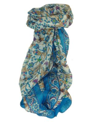 Mulberry Silk Contemporary Long Scarf Mantri Aquamarine by Pashmina & Silk