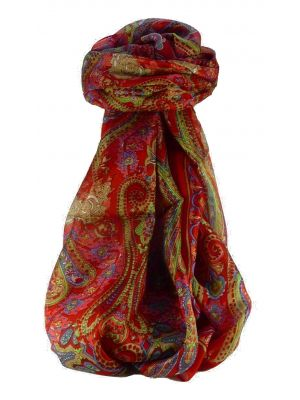 Mulberry Silk Traditional Long Scarf Godavary Scarlet by Pashmina & Silk