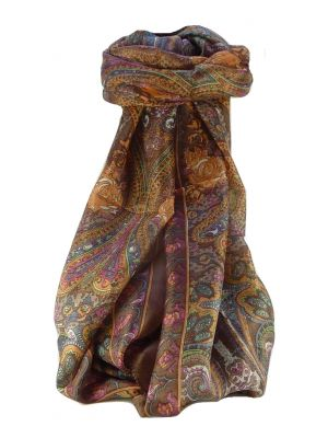 Mulberry Silk Traditional Long Scarf Godavary Chestnut by Pashmina & Silk