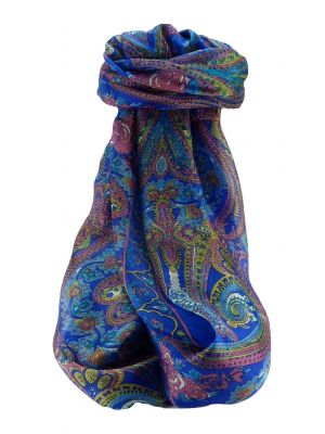 Mulberry Silk Traditional Long Scarf Godavary Blue by Pashmina & Silk