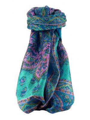Mulberry Silk Traditional Long Scarf Cauver Aqua by Pashmina & Silk