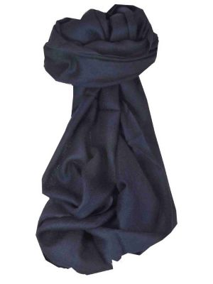 Fine Cashmere Stole Karakoram Birds-Eye Weave Dark Blue by Pashmina & Silk