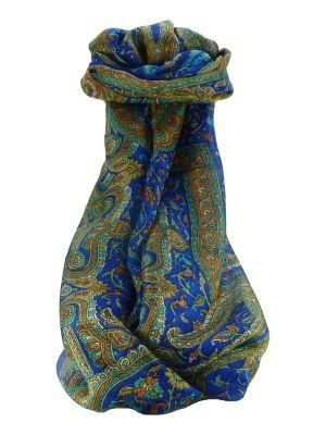 Mulberry Silk Traditional Long Scarf Kareng Blue by Pashmina & Silk