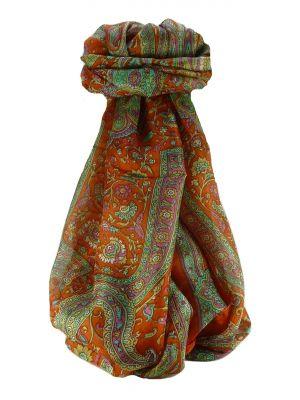 Mulberry Silk Traditional Long Scarf Kareng Terracotta by Pashmina & Silk