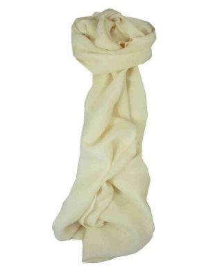 Fine Cashmere Scarf Ivory by Pashmina & Silk