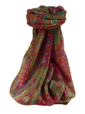 Mulberry Silk Traditional Long Scarf Kareng Pink by Pashmina & Silk
